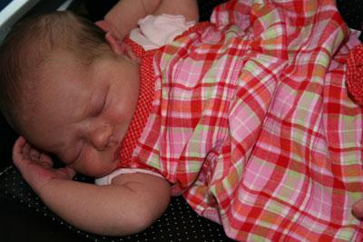 Johanna-sleeping-in-cute-plaid-dress